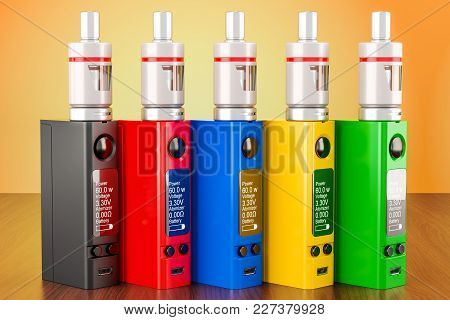 Set Of Colored Box Mods Electronic Cigarettes On The Wooden Table. 3d Rendering