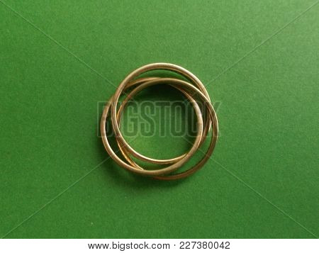 Russian Wedding Ring. 3 Gold Rings Fixed Together To Make One Ring, This One Has 52 Diamonds In Each