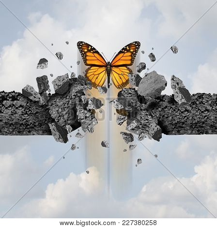 Idea Of Strength And Not Stoppable Power Concept As A Butterfly Breaking Through A Cement Wall In A