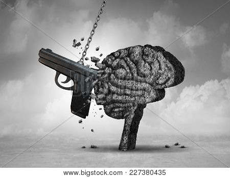 Gun Violence And Mental Illness Health Concept As A Psychiatric Brain Disorder Risk With 3d Illustra