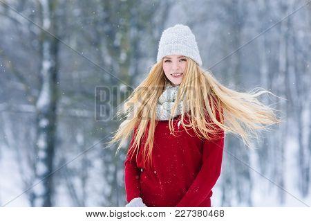 Winter Young Woman Portrait. Beauty Joyful Model Girl Laughing And Having Fun In Winter Park. Beauti