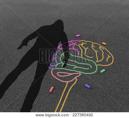 Mental illness violence and violent behavior psychology disorder as the shadow of a troubled angry person or student with chalk drawing of a human brain in a 3D illustration style. poster