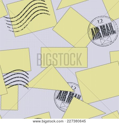Vector Seamless Pattern. Postage Stamps Of Varying Shape And Size, Yellow In Color And Scattered On