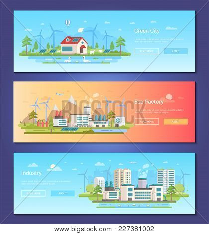 Green City - Set Of Modern Flat Design Style Vector Illustrations With Place For Your Text. Three Hi