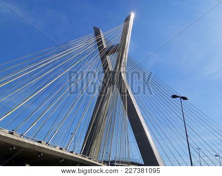 Cable-stayed Bridge At Marginal Pinheiros, One Of The Landmarks Of The City Of Sao Paulo, Brazil