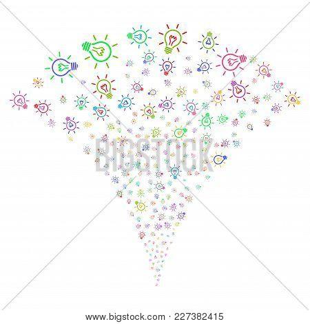 Multicolored Light Bulb Explosion Fountain. Object Fountain Done From Random Light Bulb Symbols As F