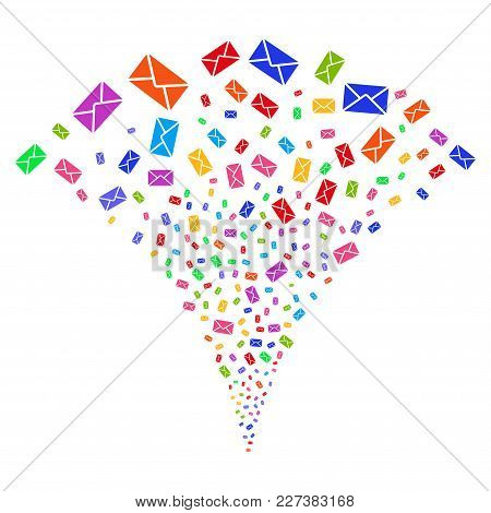 Multicolored Mail Envelope Fireworks Fountain. Object Fountain Made From Random Mail Envelope Icons