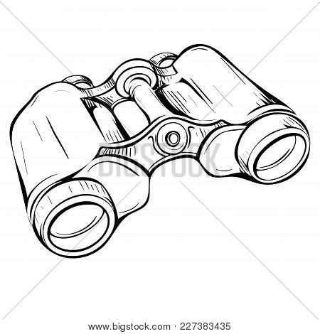 Vector Illustration Of Retro Military Binoculars In The Thumbnail Style On A White Background