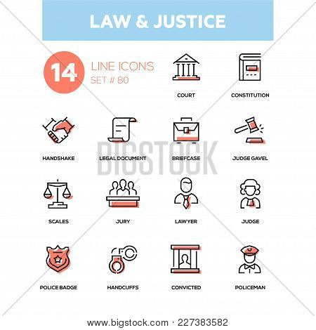 Law And Justice - Line Design Icons Set. High Quality Pictogram. Court, Constitution, Handshake, Leg