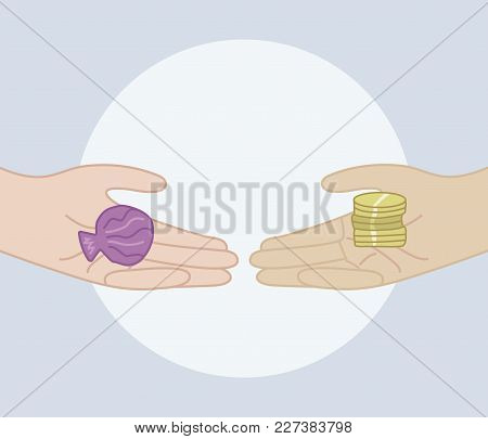 One Person Changes The Shell For A Handful Of Coins On A Blue Background Only Hands