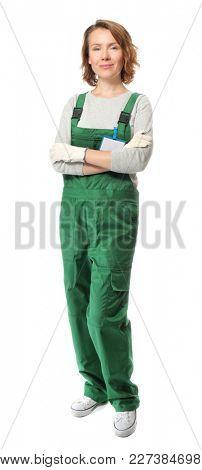 Female auto mechanic on white background