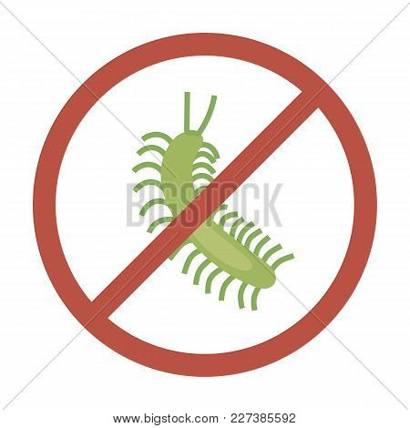 Green Centipede On White Background Bright Red Circle Warning Sign