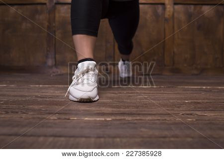 Image Of Woman S Feet In White Sneakers. Sport Concept.