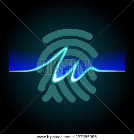Abstract Signature On Fingerprint Background, Fingerprints Scanning Process - Access Control System,