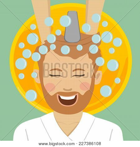 Young Bearded Man In A Barbers Getting Washed His Hair With Shampoo