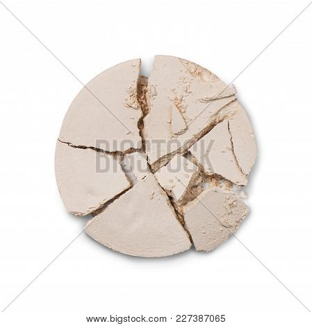 Close Up Of Light Nude Coloured Crushed Mineral Powder Isolated On White Background