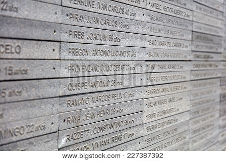 Buenos Aires, Argentina - January 22, 2018: Detail From Remembrance Park In Buenos Aires, Argentina.