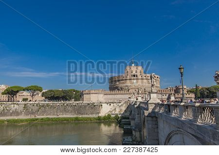 Rome, Italy - September 24, 2016: Unidentified People At Sant Angelo Bridge In Rome, Italy. It Is Br