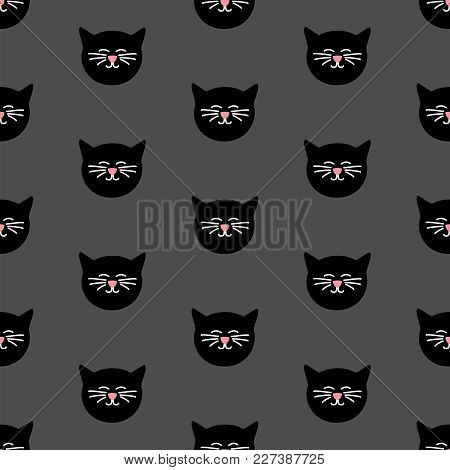 Tile Vector Pattern With Black Cats On Grey Background
