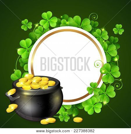 Pot Of Gold And Clover Leaves