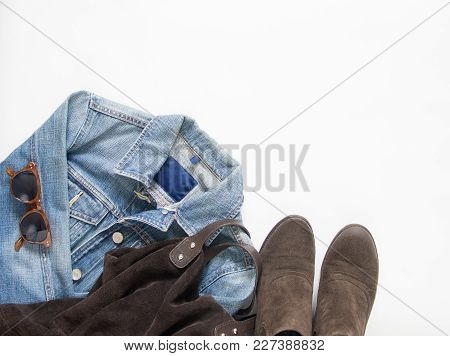 Spring, Autumn Female Outfit. Set Of Clothes, Shoes And Accessories On White Background. Blue Denim
