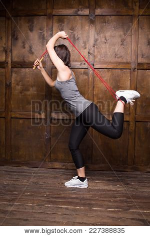 Sport Activity. Cute Woman With Skipping Rope.