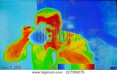Person In Infrared Light Photography Takes Pictures Of You. A Large Raster.