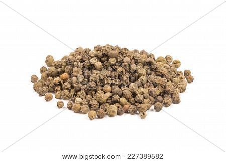 Heap Of Green Peppercorns, Heap Of Green Pepper Isolated On White Background