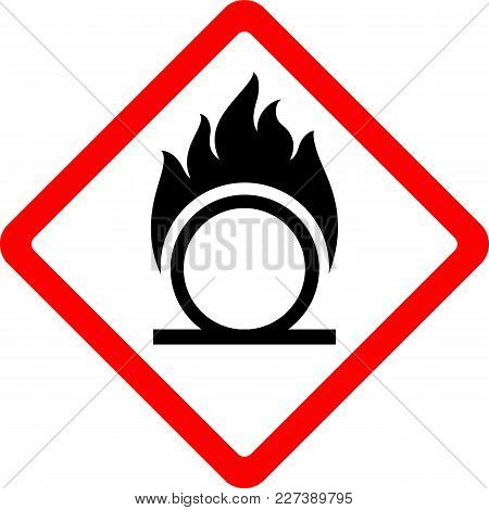 Oxidising New Safety Symbol, Simple Vector Illustration