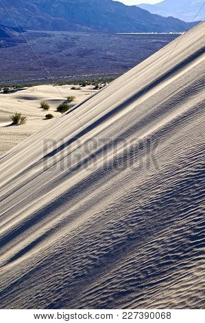 Close Up Of The Steep Slope Of A Sand Dune In Mesquite Flats In Death Valley National Park