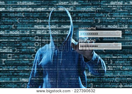 Man hacking account on virtual screen against dark background. Concept of cyber attack and security