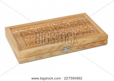 Wood casket for backgammon isolated on white background