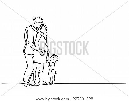 Continuous Line Drawing. Happy Pregnant Woman With Her Husband And Small Son, Silhouette Picture. Ve