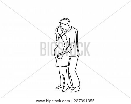 Continuous Line Drawing. Happy Pregnant Woman With Her Husband, Silhouette Picture. Vector Illustrat