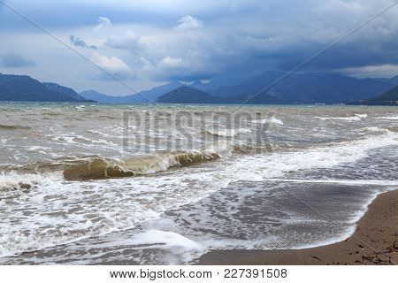 Waves On The Beach During Storm In Marmaris, Turkey