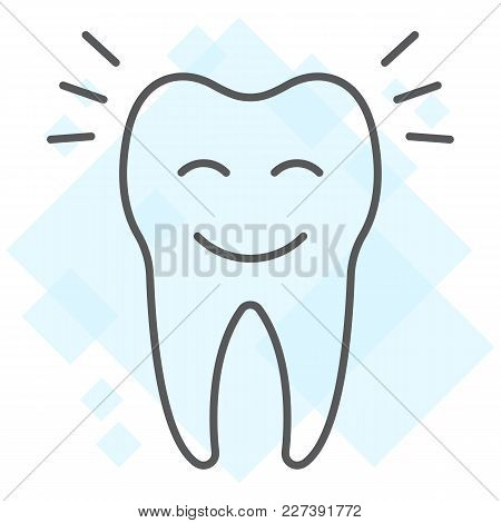 Smiling Tooth Thin Line Icon, Stomatology And Dental, Cleaned Tooth Sign Vector Graphics, A Linear P