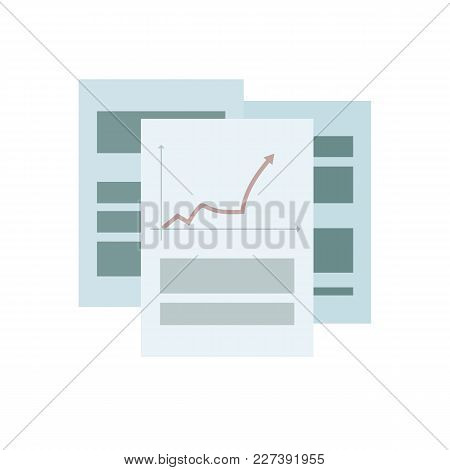 Composition Of Office Business Sheets Of Paper With Graphs And Articles On A White Background