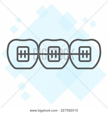 Tooth With Braces Thin Line Icon, Stomatology And Dental, Orthodontic Sign Vector Graphics, A Linear