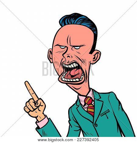 Angry Skeptical Businessman Points Finger Gesture. Comic Book Cartoon Pop Art Retro Vector Illustrat