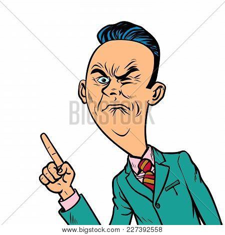 Wrinkled Nasty Bad Businessman Points Finger Gesture. Comic Book Cartoon Pop Art Retro Vector Illust