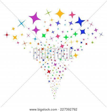 Multicolored Shine Stars Explosion Fountain. Object Fountain Done From Random Shine Stars Design Ele