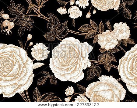 Garden Roses. Floral Vintage Seamless Pattern. White Flowers, Gold Leaves, Branches And Berries On B