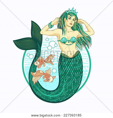 Mermaid Girl With Crown.the Sea King S Daughter, Fairytale, Mythology, Tattoo Art. Isolated Vector I