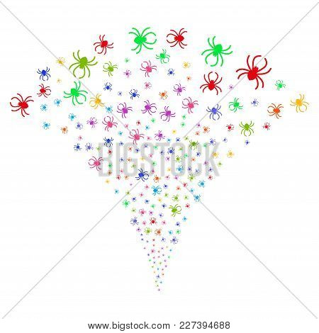 Multi Colored Spider Fireworks Fountain. Object Fountain Done From Random Spider Symbols As Firework