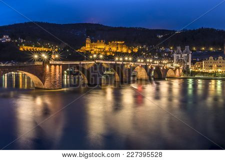 The Skyline Of Heidelberg In Germany At Night - Europe