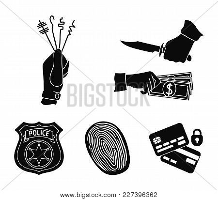 Robbery Attack, Fingerprint, Police Officer's Badge, Pickpockets.crime Set Collection Icons In Black