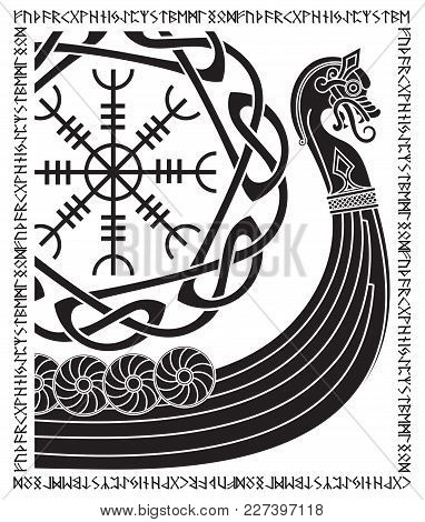 Warship Of The Vikings. Drakkar, Ancient Scandinavian Pattern And Norse Runes, Isolated On White, Ve