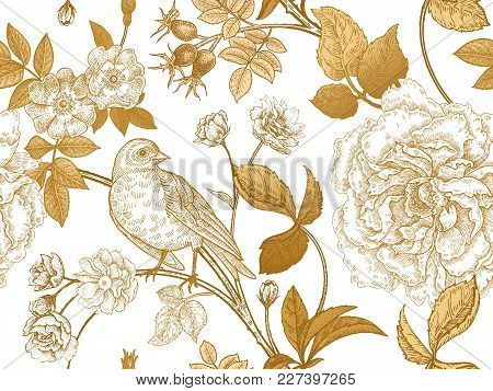 Garden Flowers Roses, Peonies And Dog Rose, Bird On Branches . Floral Vintage Seamless Pattern. Gold