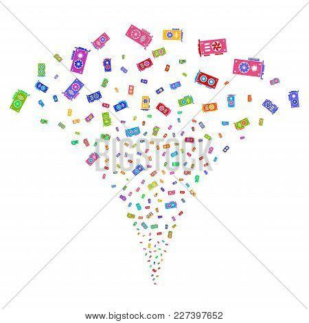 Multicolored Video Card Gpu Fireworks Fountain. Object Fountain Made From Random Video Card Gpu Pict
