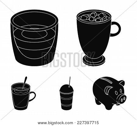 Ristretto, Hot Chocolate, Latte Take-away.different Types Of Coffee Set Collection Icons In Black St